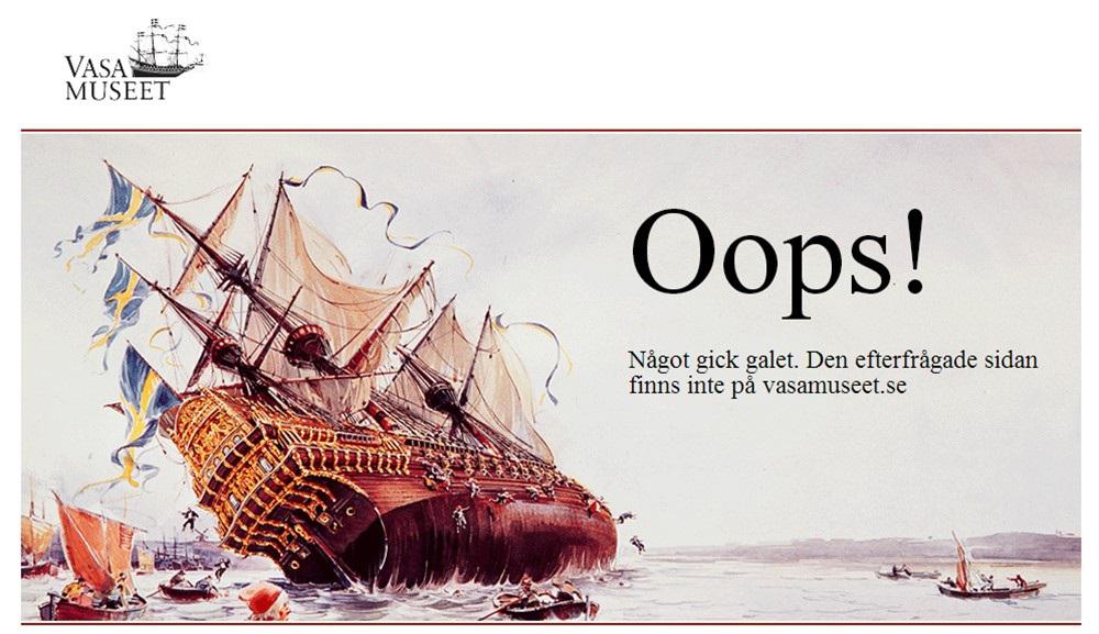 """Tipica ironia di stampo svedese, qui in un manifestino commemorativo ufficiale. La scritta dice: """"Ops, forse non dovevano mangiare tutte quelle polpette. Venite a ridere di noi su vasamuseet.se"""""""