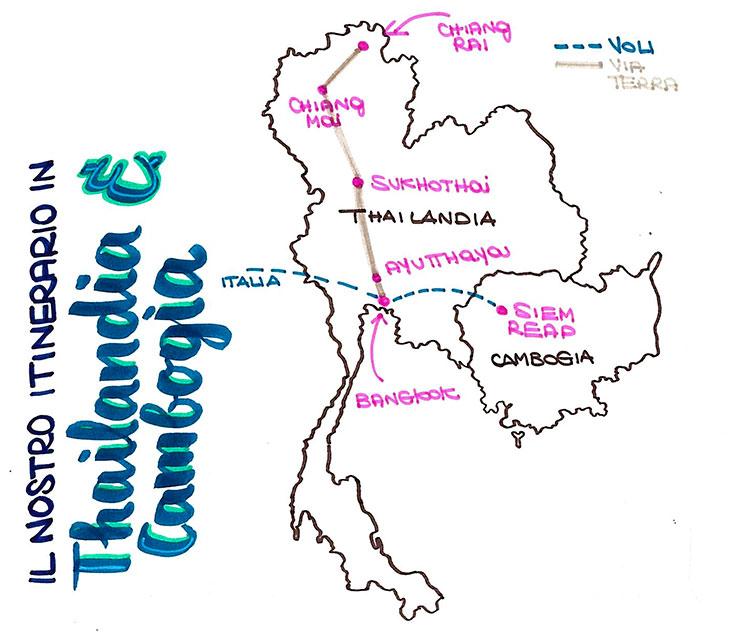 La cartina del nostro itinerario