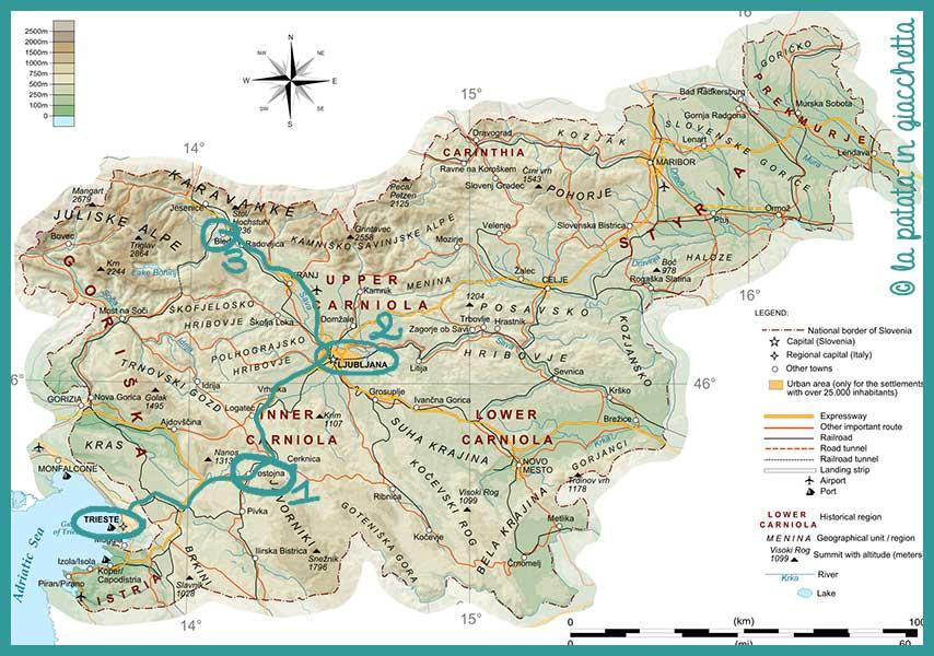 itinerario tre giorni slovenia mappa