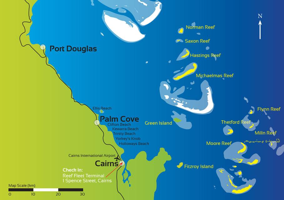 Mappa - Visitare la grande barriera corallina